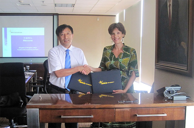 Xiangsihu College of Guangxi University for Nationalities Visiting BINUS UNIVERSITY and Signing Student Exchange Agreement