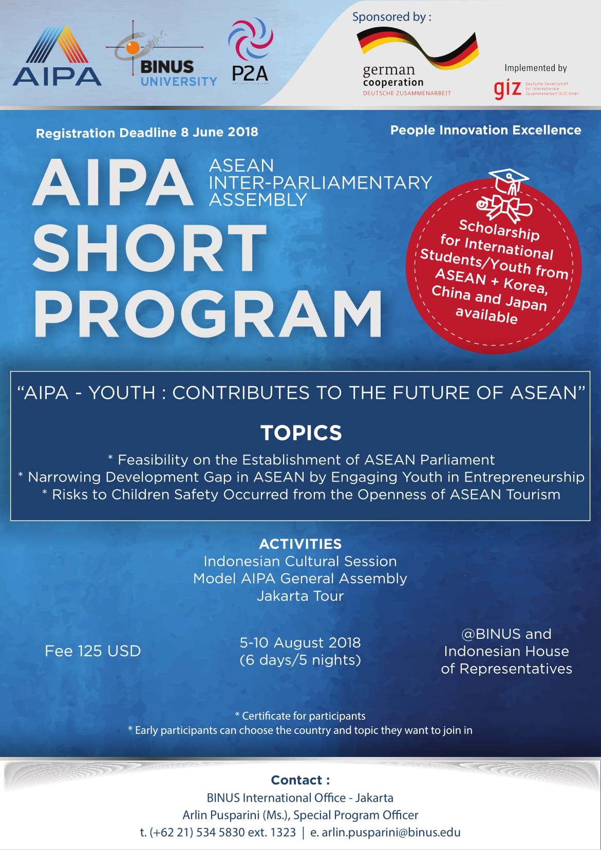 "Short Program ""AIPA – YOUTH : Contributes to the future of ASEAN"""