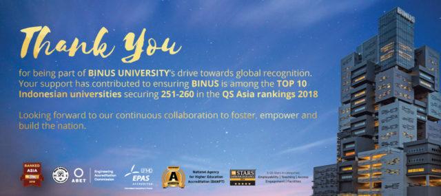 QS World University Ranking 2020 Asia Binus Bina Nusantara